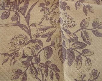 Jaima Brown Avignon Floral Toile Quilted Designer Fabric Sample