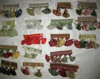 Tassel Trim Fringe Sample Lot Craft Doll Altered Art Mixed Media Supplies 17 pc
