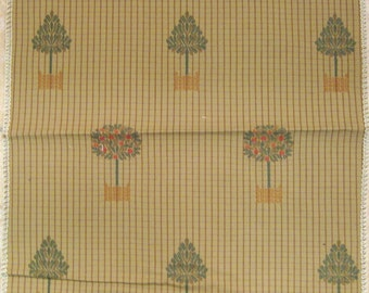 Harden Embroidered Tree Pot Plaid Lampas Designer Fabric Sample
