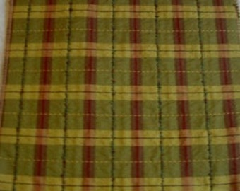 Olive Wine Plaid Grigio WESLEY Hall Designer FABRIC SAMPLE Textured