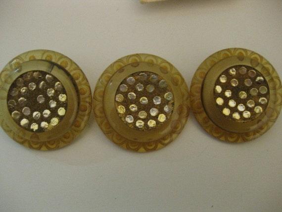 3 Vintage Large Cider Plastic Silver Foiled Buttons SALE