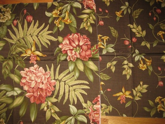 Fab Coordinated Brown Floral Cotton Designer Fabric Samples Lot