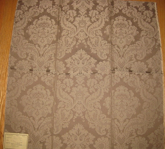 Highland Court Brown Damask Upholstery Designer Fabric Sample Cotton Mocha Centered From