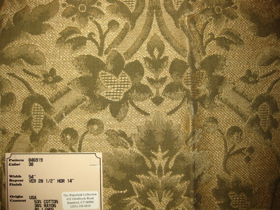 Green Embossed Floral Tapestry Upholstery Designer Fabric Sample From Fabricsamples On Etsy Studio