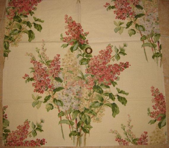 Warner Lilac Flower Pink Cream DESIGNER FABRIC SAMPLE Hole in Middle
