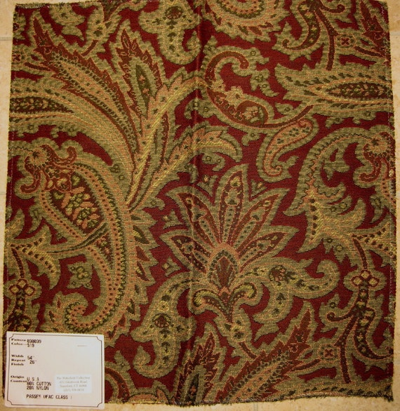 Wine Green Paisley Tapestry Upholstery Designer Fabric Sample