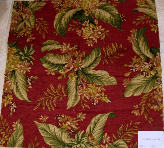 Robert Allen Meadow Rue Floral Jungle Designer Fabric Sample Leaf Red Olive