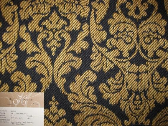 Soft Black Stirated Gold Damask Tapestry Designer Fabric Sample Highland Court