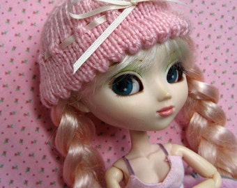 pink scalloped-edge ribbon hat for pullip