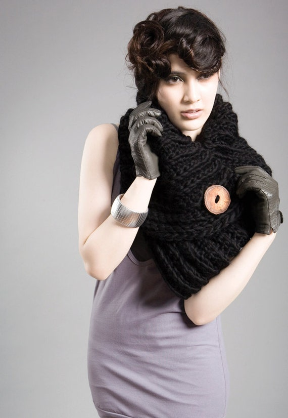 SAMPLE SALE - Spratters and Jayne 1-Button Lapel Cowl in Black, neckwarmer, shrug, crochet, chunky, knit, for women or men- Ready to Ship