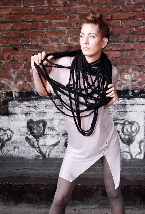 SAMPLE SALE - Spring, Summer Braided Bamboo Circle Scarf in Black Cotton- Ready to Ship