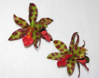 Pair Double Green Spotted TROPICAL HAWAIIAN ORCHID Hair Clips