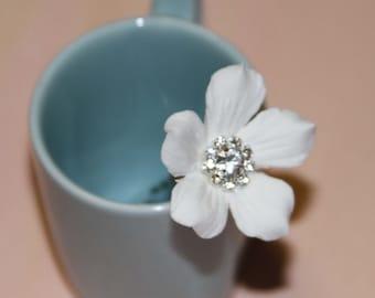 DECO Clay Stephanotis Hair Flower - Single hair flower (1)