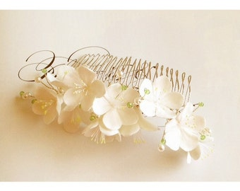 White Cherry Blossom Hair Comb in Clay - embellishe with crystals and pearls