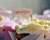 It's A Girl - 12 Baby shower cupcake flags