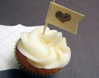 Heart of Gold Cupcake Flags