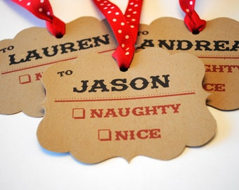 Christmas Gift Tags - Personalized Naughty or Nice - Set of 6