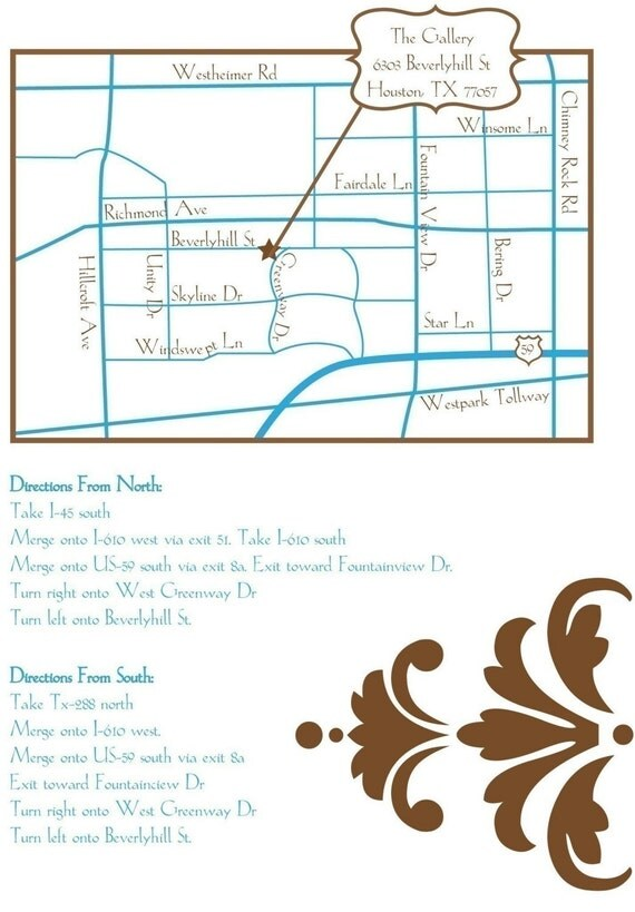 Wedding or Event Map Design- 1 Sided