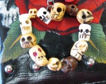 Bone and Wood All Skull Heart Pendant