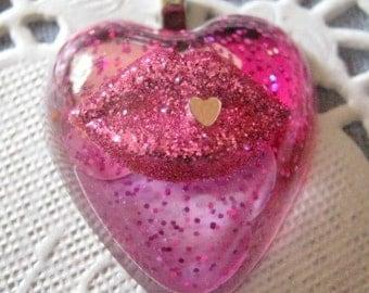 Pink Hot Lips Heart Resin Pendant