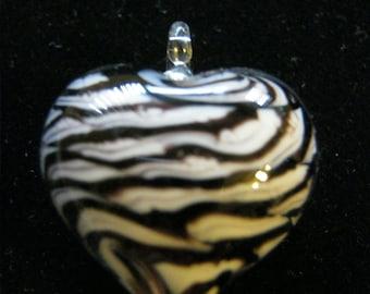 Zebra Glass Heart Pendant