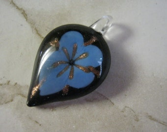 Glass Tear Drop Orchid Flower Pendant
