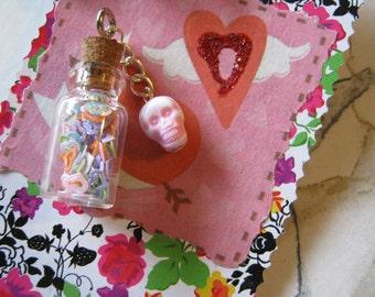Skull Pendant Bottle of Hearts Art Charm