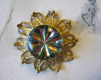 Vintage Rhinestone Filigree Pendant