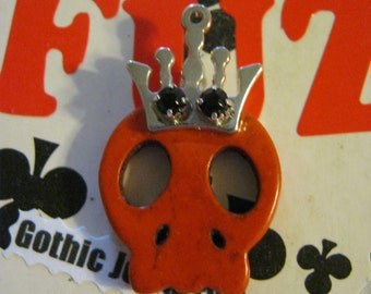 Skull With Crown Pendant Charm