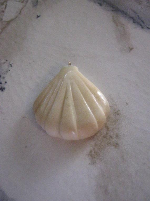 Vintage BONE Fan Shell Pendants