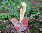 red ceramic cosmic chicken ornament