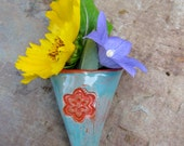 made to order ceramic wildflower vase in turquoise and red