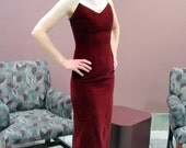 Red Velvet Prom Dress with Rhinestone Straps, Modern Size 2 to 4, Extra Small XS