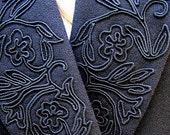 Vintage Black Jacket 1980s Blazer with Trimmed Lapels Modern Size 6