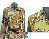 Vintage 1970's Bold Boho Green and Gold Shirt, Modern Size 12 to 14, Medium to Large