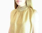 1960s Dress Gold Metallic Vintage Party Dress NWT Modern Size 12