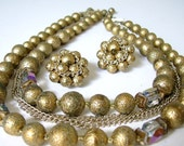 Japan Necklace and Earrings Gold Beads and Chains Vintage 1950s Jewelry