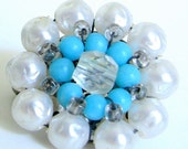 Vintage Earrings - 1950's Japan Turquoise and Pearl Cluster Clip On Earrings