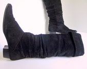 Vintage 1980's Black Suede Slouch Boots, Size 6 M