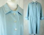 Vintage 1950s / 1960s Robins Egg Blue Wool Swing Coat, Modern Size 18, Extra Large