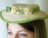 Vintage Tilt Hat Beige with Ivory Flowers and Green Velvet Ribbon