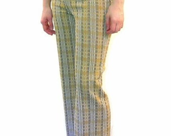 Vintage 1970's Tan and Gray Plaid Stretch Pants, Modern Size 6 to 8 Petite, Size Small