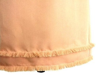 Upcycled, Peach, Fringed Wiggle Skirt, Womens Size 10 to 12, Medium