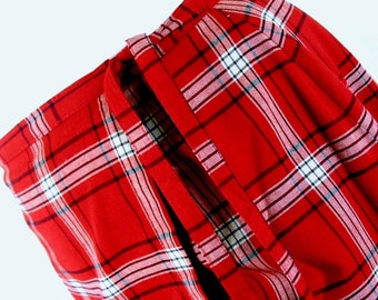 Red Plaid Wrap Skirt with Matching Scarf, Size 12, Medium