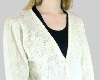 Vintage Cardigan - 1980's Off White Sweater with Pearls and Lace, Modern Size 8, Small