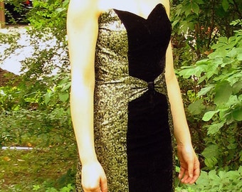 Upcycled Strapless Black and Gold Cocktail Party Prom Dress, Modern Size 6, Small