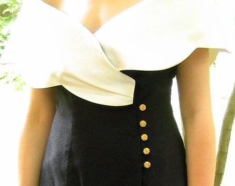 Upcycled Black and Cream Two Piece Prom / Party Dress Formal, Modern Size 8, Small