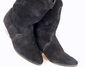 Vintage 1980's Black Suede Cowgirl Boots, Size 7