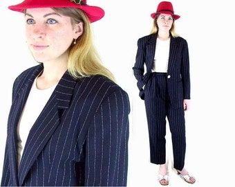 Vintage 1980's Evan Picone Blue Pinstripe Wool Pant Suit, Modern Size 8, Small