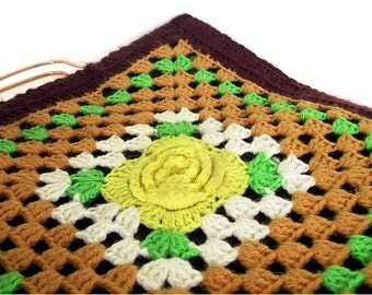 Vintage Granny Square Purse - 1970's Crochet Handbag